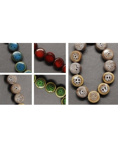 Perlas de vidrio, redondo, color marrón, 4 mm agujero: 1 mm (50 Unidades)